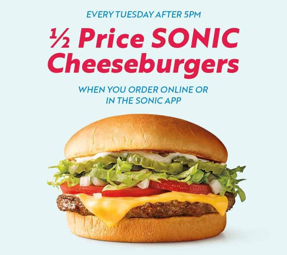 sonic cheeseburger isolated on light blue background with text: Every Tuesday after 5 p.m. 1/2 price Sonic cheeseburgers when you order online or in the Sonic app