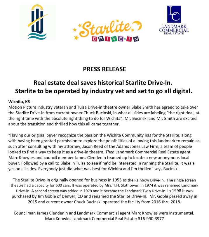 starlite drive in wichita saved according to a press release issued dec 7 2018
