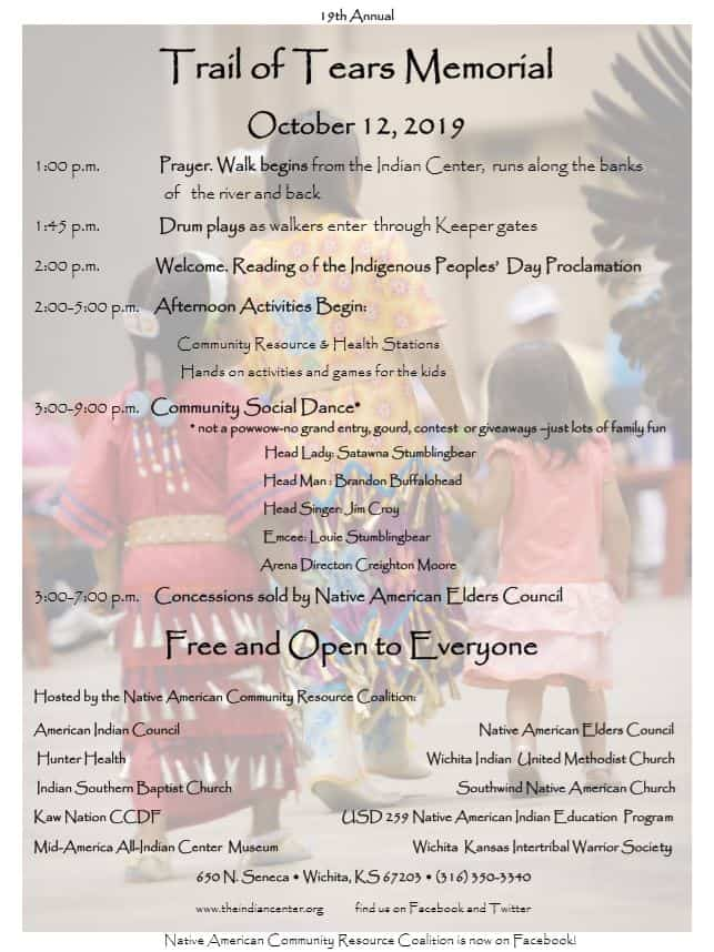 2019 Trail of Tears Memorial Walk and Community Social Dance schedule/flyer, Mid-America All-Indian Center, Wichita, KS