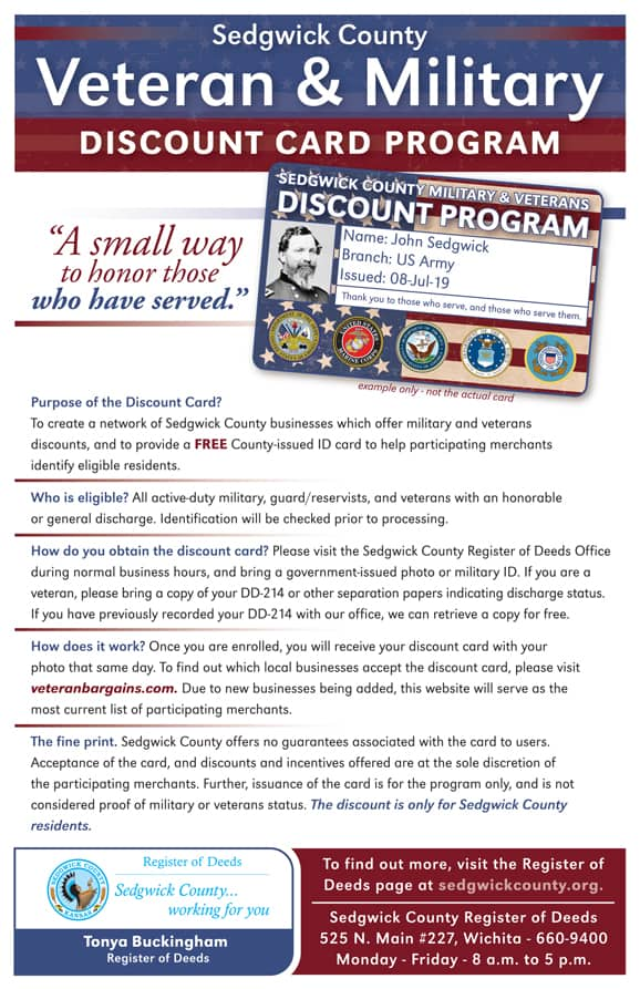 Sedgwick County Veterans Discount Card information