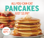Village Inn: All you can eat pancakes for just $3.99 in September