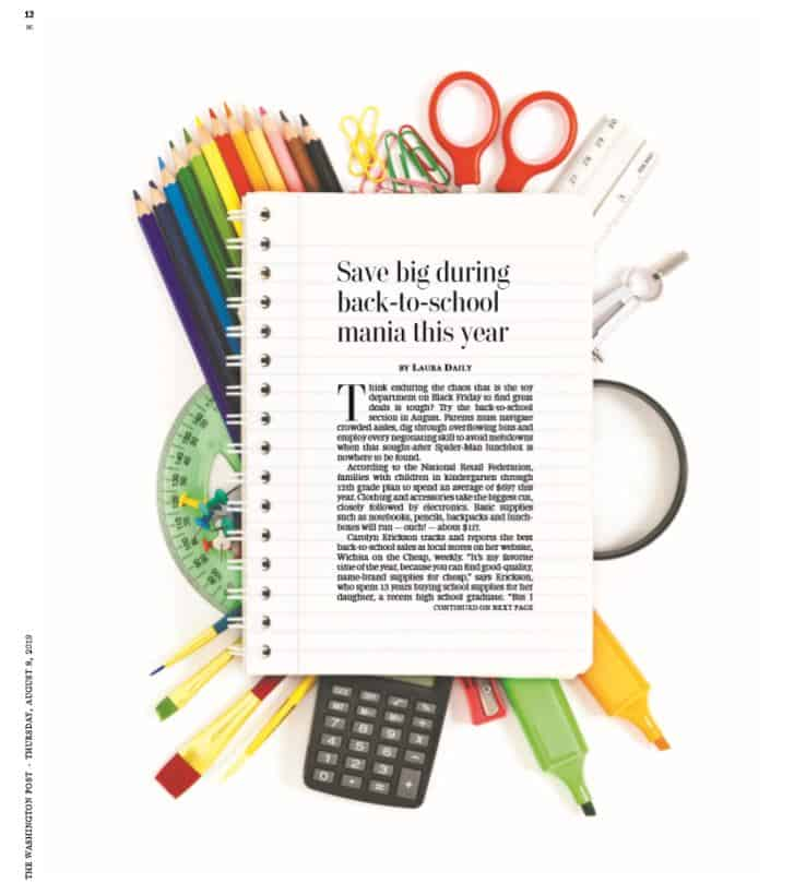 Washington Post article about saving money on back to school shopping, featuring advice from Wichita on the Cheap
