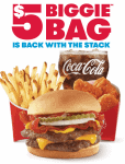 $5 Biggie Bag is back with the stack photo shows wendy's burger, fries, cola, and nuggets