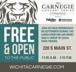 FREE Lunchtime concert Wichita Carnegie Heritage Square Park Wednesdays in September