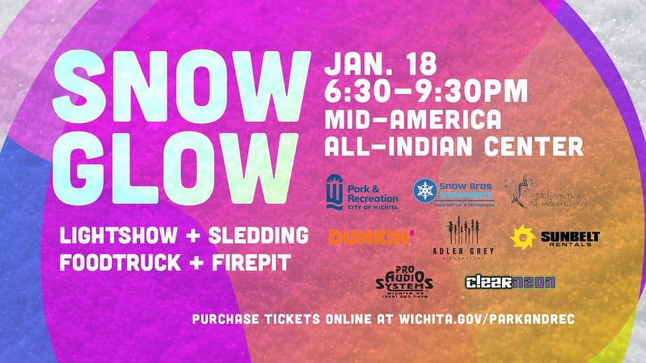 Wichita Snow Glow - Wichita Parks and Recreation night time sledding event with ticket prices
