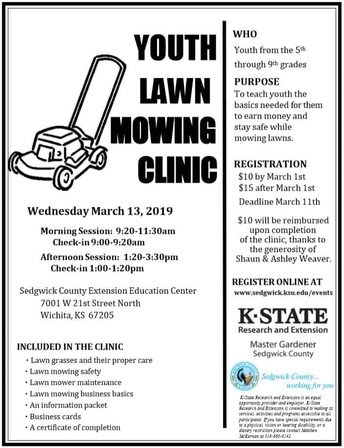 Youth Lawn Mowing Clinic $10 reimbursed upon completion